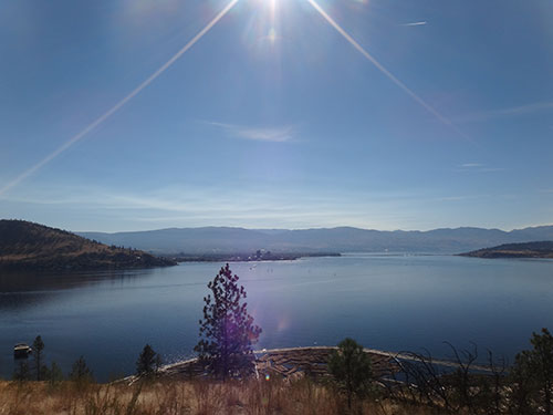 Lake Okanagan is approximately 60 miles / 120 kilometres long.